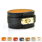 Women Faux Leather Bracelet Twist Lock Wide Bangle Fashion Cuff Wrist Accessory