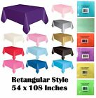 1x Plain Plastic Table Cover Various Solid Color Party Tableware 54 x 108 Inches