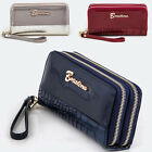 Crocodile Double Zipper Long Wallet Clutch Wristlet Card Coin Holder PU Leather