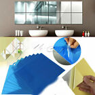 US 9/16Pcs DIY Square Mirror Tile Wall Stickers 3D Decal Mosaic Home Room Decor