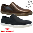 MENS RED TAPE LEATHER SLIP ON DRIVING SMART CASUAL BROGUES TRAINERS SHOES SIZE