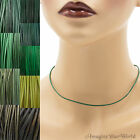 1.5 mm Green Leather Cord Necklace or Choker Custom Length colors Handmade USA