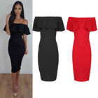 Womens Off Shoulder Bardot Midi Dress Ladies Peplum Ruffle Frill Bandage Bodycon