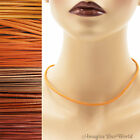 Orange Leather Cord Necklace Custom Handmade 36 inches max choker 16 22 24 30 +