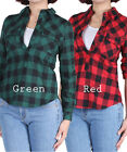 D2D Women's Junior Size Casual Roll-Up Sleeves Collar Button Down Checker Blouse
