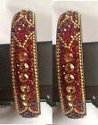 beautiful set of 2 red diamante indian bangles new chunky eid bridal