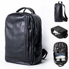 Men's Real Leather Business Backpack Rucksack Laptop bag College School Book bag