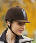 New CSO Choplin 'Jump' Riding Helmet Hat Brown Faux Suede 91116