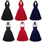 Backless Plunge Halter Vintage  Party Dress for women with Breathable material
