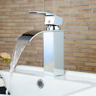 Deck Mount Chrome Finish Basin Faucet Waterfall Spout One Hole Hot & Cold Faucet