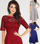 Elegant Office Women Boat-neck Mid-sleeve Floral Lace Swing Dress Cocktail Party