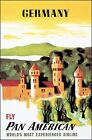Germany Fly Pan Am 1948 Poster Travel Print European Tourism Castles