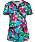 Med Couture Scrubs Hot Tropic Chrissy Mock Wrap Print Top 8440 HTPC  Chz Size