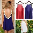 Elegant Flower Strap Collar Loose Party Mini Dress Women Sexy Backless Sundress