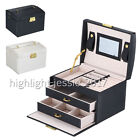 Jewellery Storage Box Watch Case Necklaces Rings Display Organizer Faux Leather