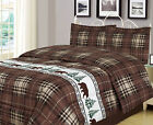 Twin, Full/Queen, or King Plaid Bear Comforter Set Rustic Cabin Lodge image
