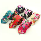 Gentlemen Mens Necktie Cotton Flower Skinny Groom Party Floral Party Tie Wedding