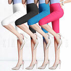 Womens Cropped 3/4 Capri Leggings Plain Pants Trousers Plus Size All Colors