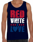 Red White And Love Men's Tank Tops for Men USA Flag 4th Of July Party