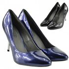 WOMEN'S HIGH HEELS SIZE 3-6 , BLACK, NAVY STILETTO POINTED TOE PARTY COURT SHOES