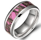8mm Pink Camouflage Titanium Women,s Men´s Camo Wedding Band Ring Size 7 to 12