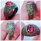 TOP QUALITY POST MEDIEVAL SILVER RING WITH RED GEMSTONE- NO RESERVE!