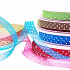 10mm Spotty POLKA DOT ORGANZA Ribbon Decor Paper Craft Projects 100-1000m BULK