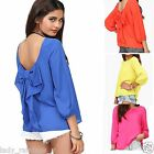 Sweet Summer Casual Chiffon Shirts Backless Bow Women Blouse Tops S M L XL XXL
