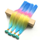 50/100strands 50cm Rainbow Ombre Long Straight Grizzly Feather Hair Extensions