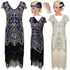 Vintage 1920s Dress Flapper Gatsby Party Wedding Ladies Freinged Evening Costume