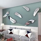 8Pcs Feather 3D Mirror Wall Art Stickers Decal Vinyl Home Bedroom Mural Decor