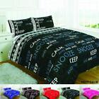 Duvet Cover Set Single Double Super King Size With Fitted Valance Sheet Curtains