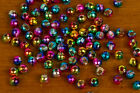 25 Tungsten Slotted Disco Fly Tying Beads / Rainbow - Various Sizes