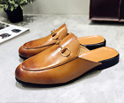 Men Fashion Backless Loafers Appliqué Mules Slide Metal Buckle Slippers Shoes 10