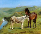 A Horse and a Donkey in a Mountain Landscape~Rosa Bonheur~Cross Stitch Pattern