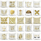 Gold Letters & Trees Polyester Throw Pillow Case Sofa Cushion Cover Home Decor