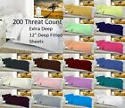 "12""(30Cm) Extra Deep Fitted Sheet OR Pillow Cases 200 Threat Count All Sizes"