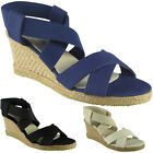 Womens Ladies Elastic Strappy Peeptoe Mid Heel Wedge Party Sandals Shoes Size