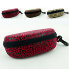 Vintage Red/Brown Leopard Portable Eyeglass Sunglasses Glasses Clip Case