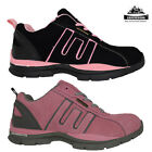 WOMENS LADIES LIGHTWEIGHT PINK LEATHER UPPERS STEEL TOE CAP TRAINER SIZE 3-8
