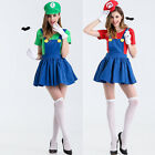 M-XXL Women Adult Super Mario Luigi Brothers Plumber Fancy Dress Costumes Party