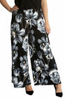 New Ladies Plus Size Trousers Womens Floral Print Palazzo Wide Leg Pant Nouvelle