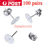 200PCS Earring Stud Posts 4mm/6mm/8mm Pads & Nut Backs Silvery Surgical Steel AU