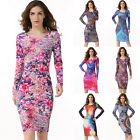 HOT Women's Floral Printed Long Sleeve Evening Party Cocktail Bodycon Mini Dress