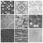 Mosaic Tile Stickers Transfers Kitchen Bathroom Black Grey Marble Effect - MS2