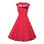 Women Polka Dot Dress Vintage Style 50s 60s Swing Pinup Sleeveless