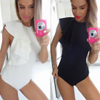 Fashion Women's Flounce Sleeveless Bodysuit Ladies Slim Jumpsuit Rompers Tops