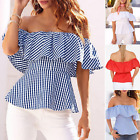 Fashion Women Summer Sexy Off-shoulder Shirt Blouse Lotus Leaf Sleeve Tube Tops