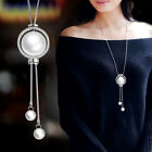 big stone necklace - Charm Big Pearl Double Line Adjust Pendant Long Necklace For Women Grey/Silver