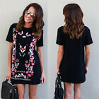 Plus Size Womens Floral Loose Long Tops T-shirt Ladies Casual Mini Dress Blouse